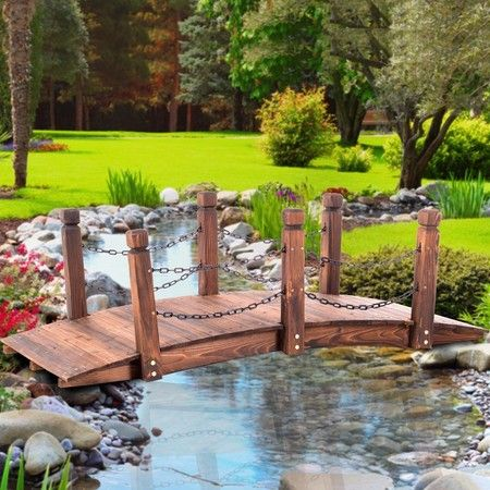 Garden Wooden Rustic Bridge Decoration Decor Outdoor Landscape Rail 160cm