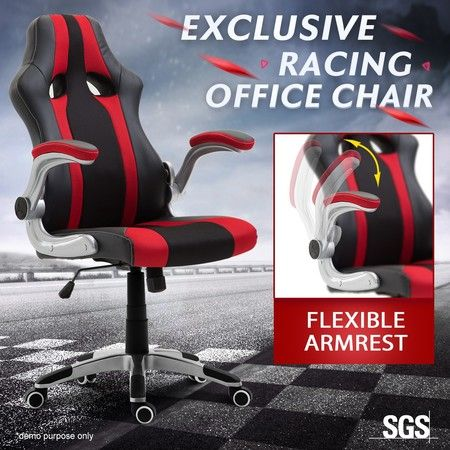 Executive PU Leather Racing Gaming Desk Chair Ergonomic Computer Seat w/Armrest