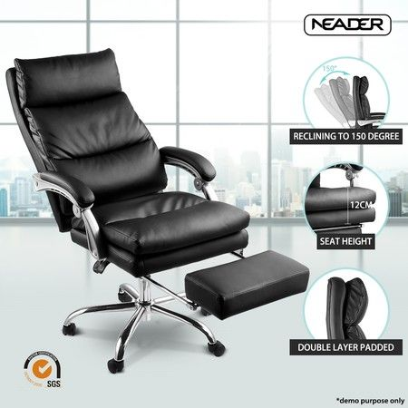 executive office chair ergonomic reclining pu leather computer seat