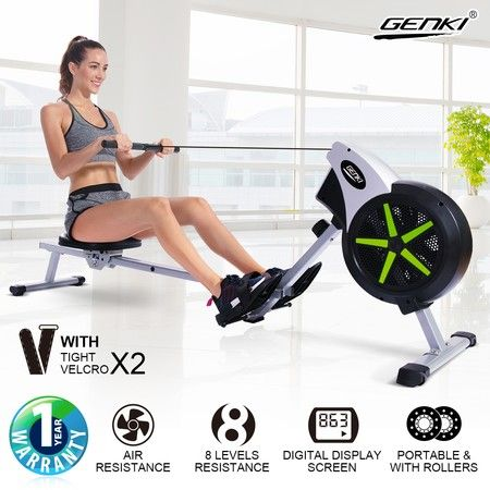 GENKI Air Resistance Rowing Machine Home Fitness Exercise Equipment w/ LCD Display