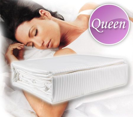 Queen Size 1000TC 100% Sateen Cotton Luxury Fitted with Flat Sheet & Pillowcase Set - White