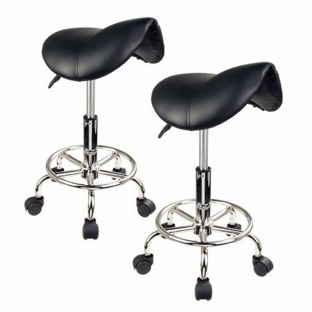 2X Saddle Salon Stool - BLACK