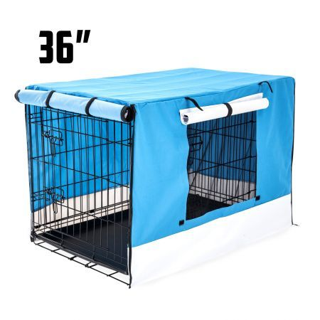 "Foldable Metal Wire 36"" Dog Cage with Cover - Blue"