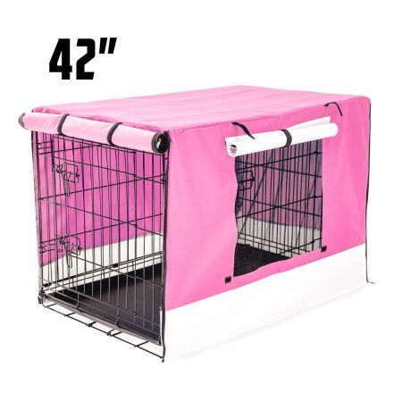 "Foldable Metal Wire 42"" Dog Cage with Cover - Pink"