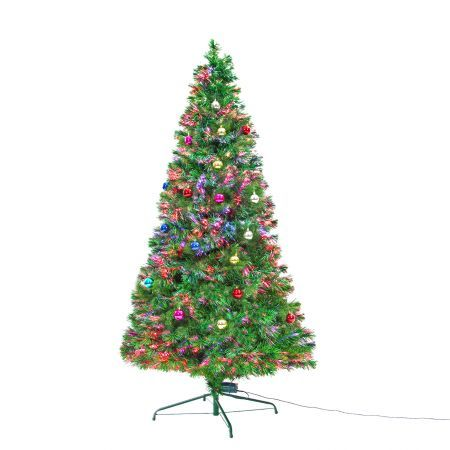 7Ft 210cm Fibre Optic LED Christmas Tree - Baubles Multi-colour