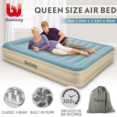 Bestway Queen Air Bed 43cm Inflatable Blow Up Mattress W
