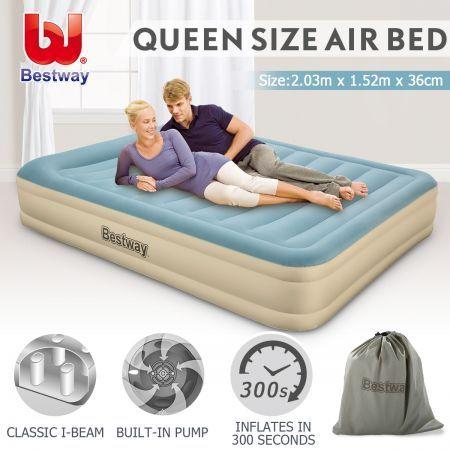 5f98c60fafef Bestway Queen Air Bed 43cm Inflatable Blow Up Mattress w Built-in Pillow    Pump