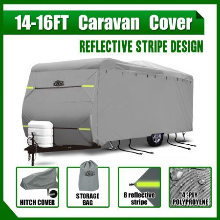 14-16ft Waterproof UV 4 Layer Caravan Cover w/Hitch Cover