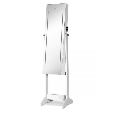 Lockable LED Mirror Jewellery Cabinet - White