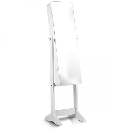 Jewellery Mirror Cabinet with Interior Mirror LED Lights - White