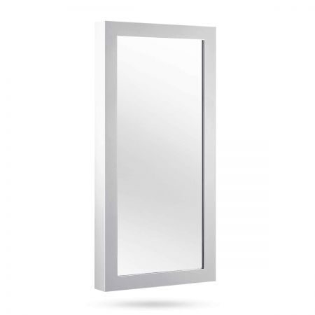 Wall Mount Jewellery Cabinet with Mirror - White