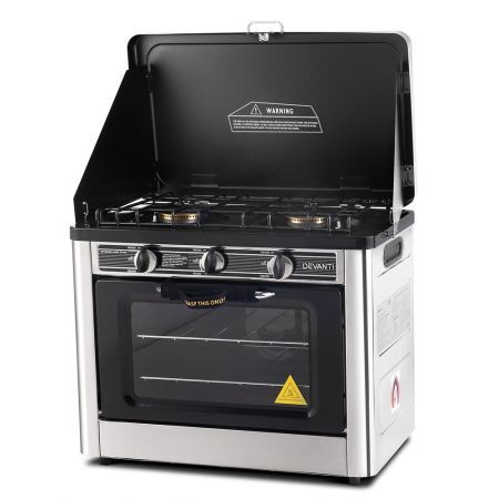 Portable Gas Oven and Stove - Silver and Black