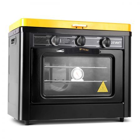 Portable Gas Oven and Stove - Black and Yellow