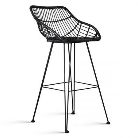 Set of 2 Rattan Bar Stools 102cm - Black