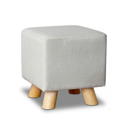 Linen Square Foot Stool with 150kg Weight Capacity - Beige