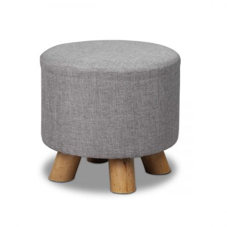 Linen Round Ottoman with 150kg Weight Capacity - Grey