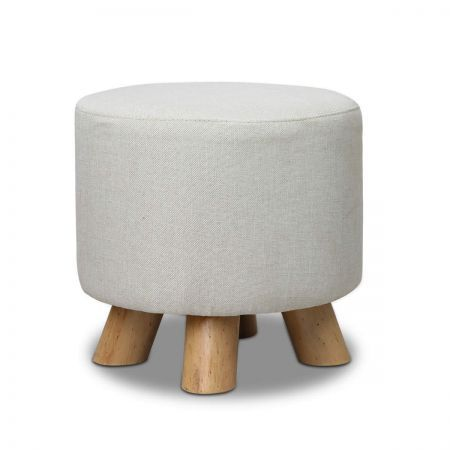 Linen Round Ottoman with 150kg Weight Capacity - Light Beige