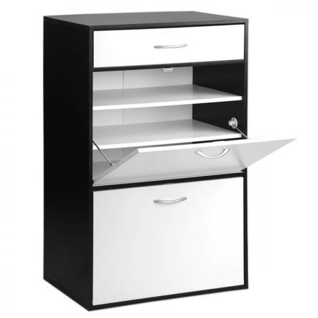 6 Tier Shoe Cabinet 30 Pairs - Black and White