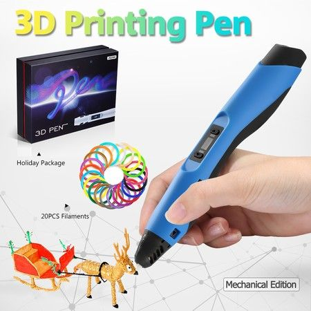 Ailink 3D Printing Pen Drawing Gift with Shovel & 20 PCS Filaments - Blue