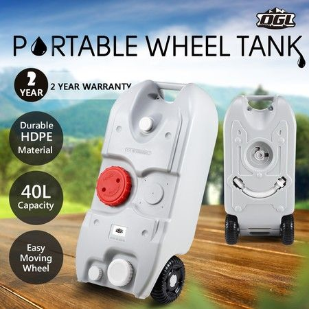 40L Wheel Water Tank Portable Outdoor Caravan Camping Motorhome Container - Grey