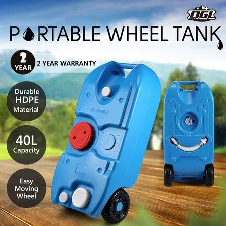 40L Wheel Water Tank Portable Outdoor Caravan Camping Motorhome Container - Blue