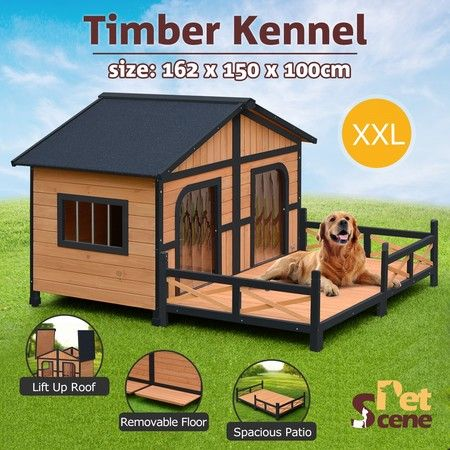 XXL Wooden Dog Kennel 2 Door All-Weather Pet House w/Patio & Window - Black