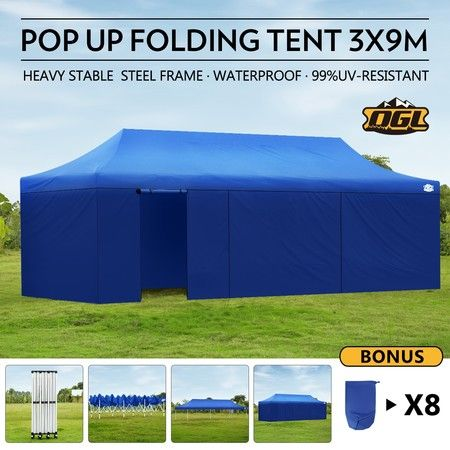 OGL 3x9M Pop up Outdoor Gazebo Folding Tent Waterproof Marquee Canopy Party Wedding Tent - Blue