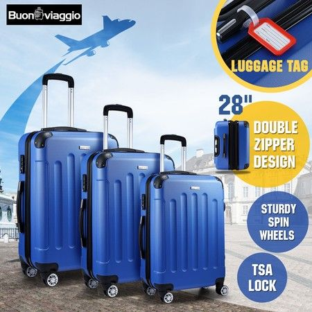 3 Piece Luggage Sets Hard Shell Lightweight Spinner Suitcase Trolley w/ TSA Lock - Blue