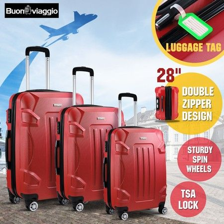 Hard Shell Lightweight Spinner Suitcase 3 Piece Luggage Sets Trolley w/ TSA Lock - Red