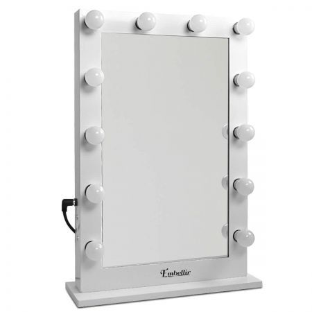 Makeup Mirror Frame with LED Lights 65x60cm - White