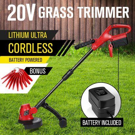 Cordless Grass Trimmer Battery Lawn Grass Edge Brush Cutter w/ Blade &  Wheels