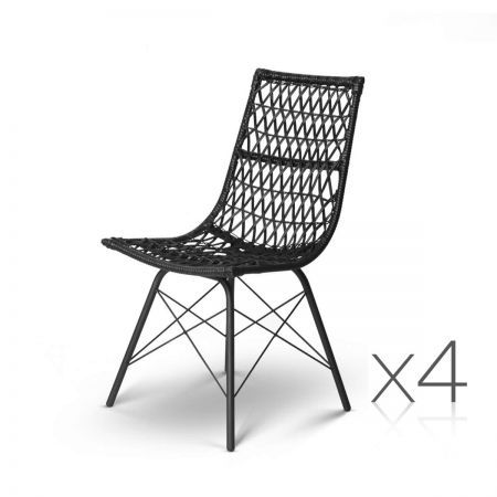Set of 4 Rattan Dining Chair - Black