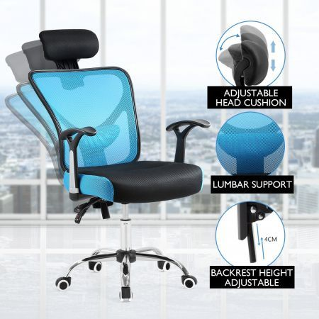 Adjustable Breathable Ergo Mesh Office Computer Chair w/ Lumbar Support - Black/Blue