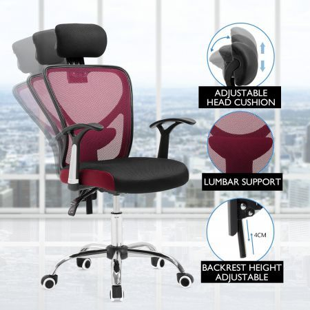 Adjustable Breathable Ergo Mesh Office Computer Chair w/ Lumbar Support - Black/Red