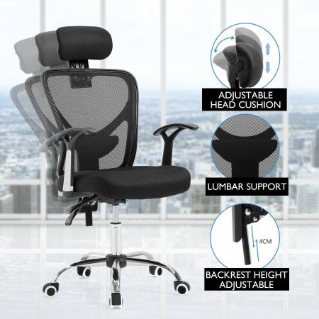 Adjustable Breathable Ergo Mesh Office Computer Chair w/ Lumbar Support - Black