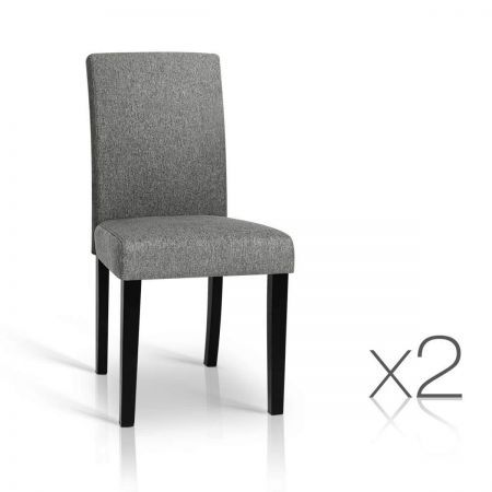 Set of 2 PU Leather Dining Chairs - Grey