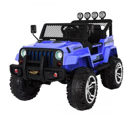 Electric Ride on Jeep Remote Control Kids Car w/Built-in Music - Blue