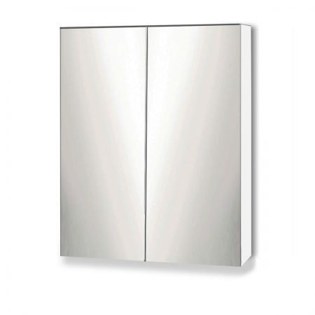 Storage Mirror Cabinet with Adjustable Glass Shelves - White