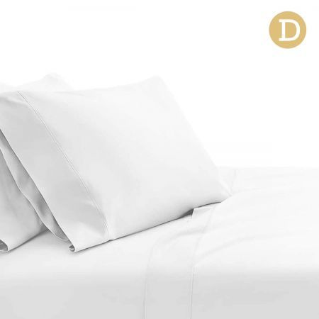 4 Piece Cotton Bed Sheet Set Double - White