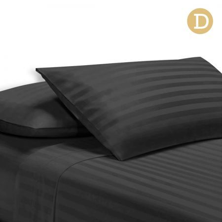 4 Piece Cotton Bed Sheet Set Double Smooth Fabric - Black