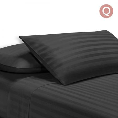 4 Piece Cotton Bed Sheet Set Queen Smooth Fabric - Black
