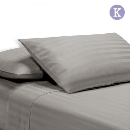 4 Piece Cotton Bed Sheet Set King Smooth Fabric - Grey