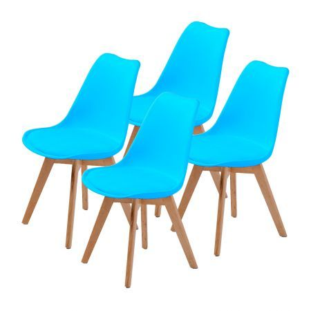 Set of 4 Replica Eames PU Padded Dining Chairs - Blue