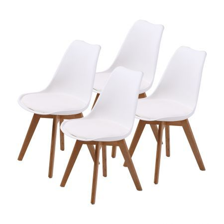 Set of 4 Replica Eames PU Padded Dining Chairs - White