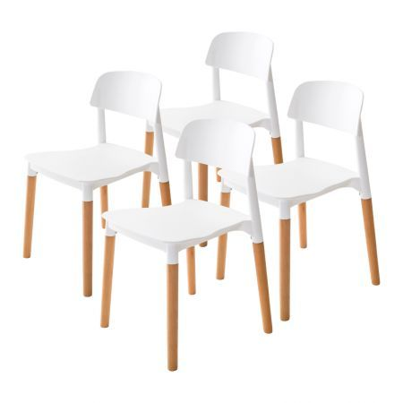 Set of 4 Replica Belloch Stackable Dining Chairs - White