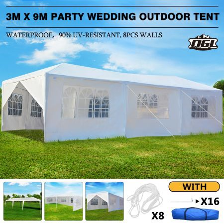 OGL 3x9m Outdoor Canopy Gazebo Party Wedding Tent Waterproof Marquee w/6 Removable Walls