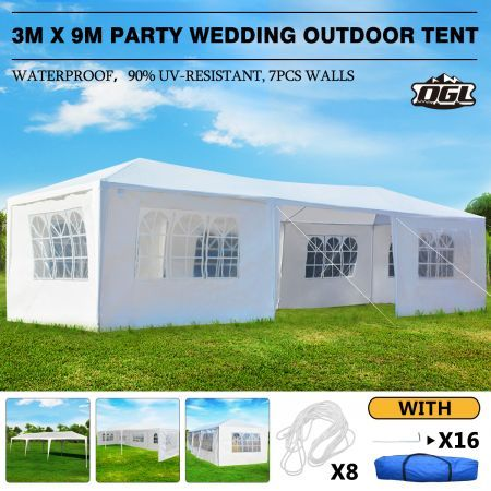 OGL 3x9m Outdoor Canopy Gazebo Party Wedding Tent Waterproof Marquee w/7 Removable Walls
