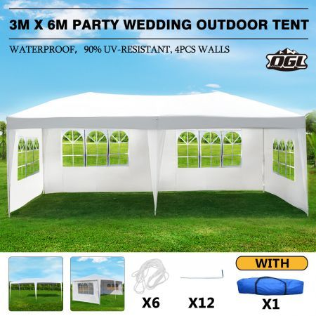 OGL 3x6m Outdoor Canopy Gazebo Party Wedding Tent Waterproof Marquee w/4 Removable Walls