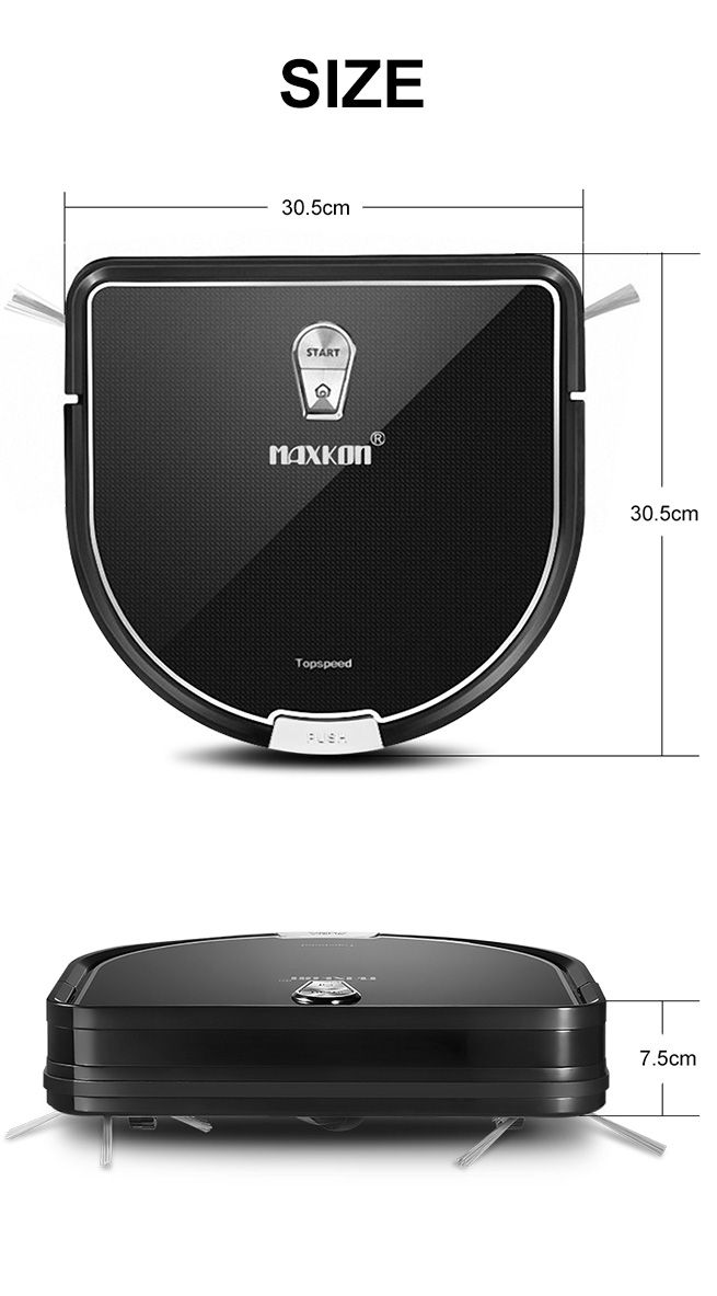Maxkon Robot Vacuum Cleaner 1 2kpa Remote Control Self