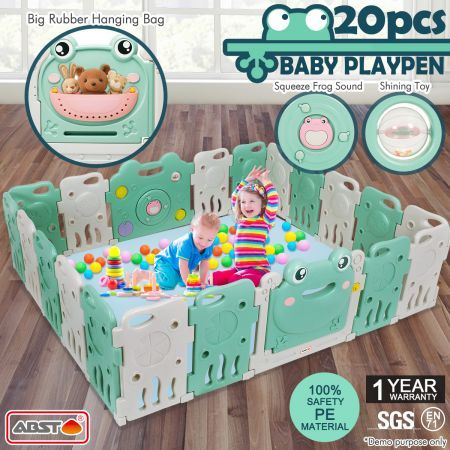 ABST 20 Sided Panel Baby Playpen Interactive Kids Safety Gates Toddler Play Room - Frog Design